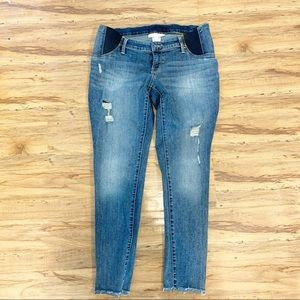 Maternity cropped distressed skinny jeans size 8